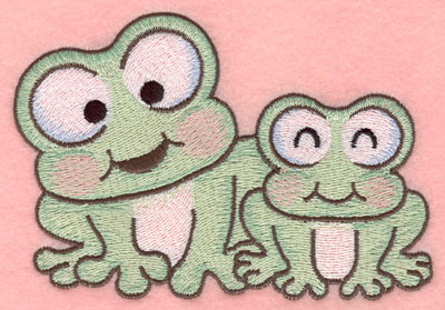 Embroidery Design: Frogs side by side small5.00w X 3.37h