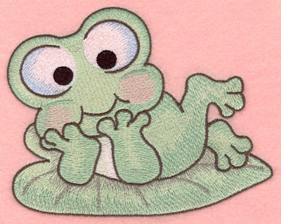 Embroidery Design: Frog resting on lily pad large5.86w X 4.61h