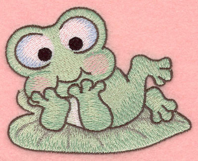 Embroidery Design: Frog resting on lily pad small3.90w X 3.05h