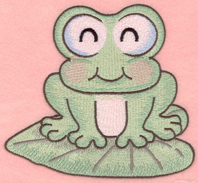 Embroidery Design: Sleeping frog on lily pad large 5.86w X 5.40h