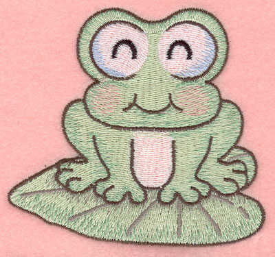 Embroidery Design: Sleeping frog on lily pad small3.90w X 3.62h