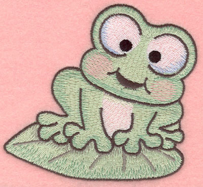 Embroidery Design: Frog sitting on lily pad small3.90w X 3.60h