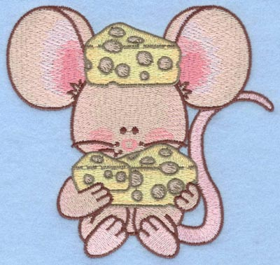 Embroidery Design: Mouse eating cheese large5.00w X 4.64h