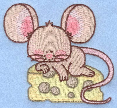 Embroidery Design: Mouse sleeping on cheese small3.90w X 3.50h