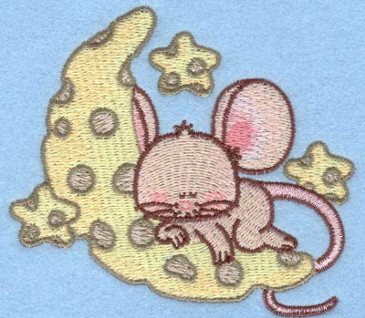 Embroidery Design: Mouse on moon small3.90w X 3.49h