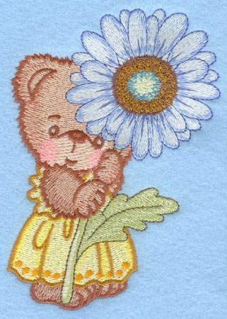 Embroidery Design: Bear standing with white daisy large3.66w X 5.00h