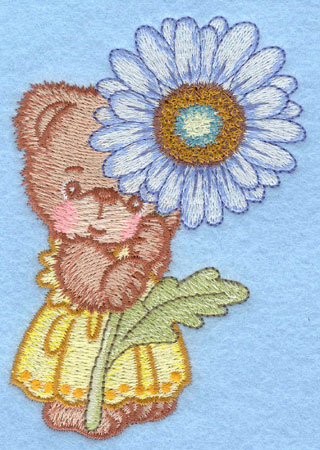 Embroidery Design: Bear standing with white daisy small2.86w X 3.90h