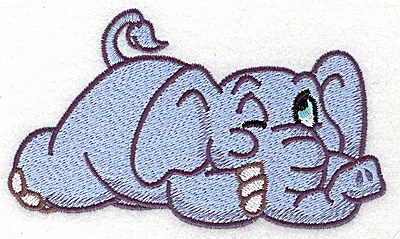 Embroidery Design: Elephant one eye open large 4.98w X 2.95h