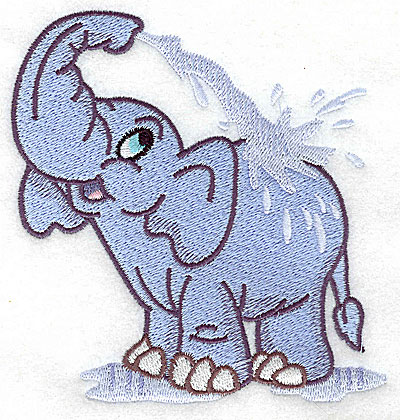 Embroidery Design: Elephant bathing large 4.44w X 4.97h