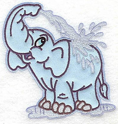 Embroidery Design: Elephant bathing applique 4.47w X 4.96h