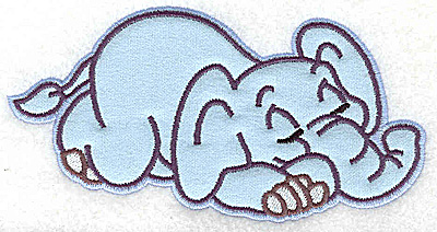 Embroidery Design: Elephant snoozing applique 6.02w  X 3.12h