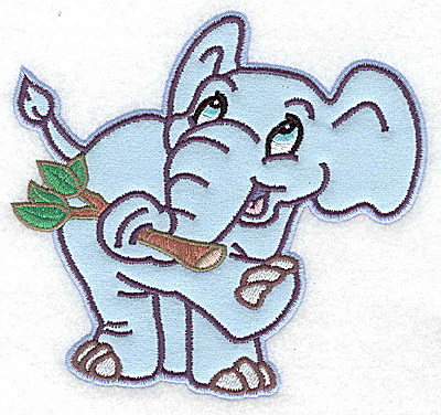 Embroidery Design: Elephant with tree branch applique 5.27w X 4.97h