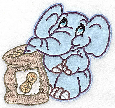 Embroidery Design: Elephant with bag of peanuts double applique 5.27w X 4.98h