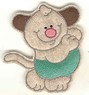 Embroidery Design: Feltie Dog small 3.54w X 3.89h