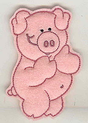 Embroidery Design: Feltie Piggy small 2.52w X 3.88h