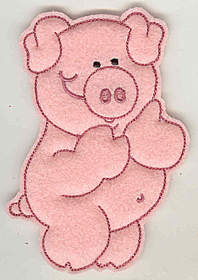 Embroidery Design: Feltie Piggy large 3.23w X 4.94h