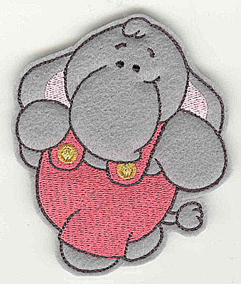 Embroidery Design: Feltie elephant small<br> 3.16w X 3.79h