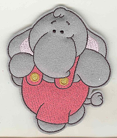 Embroidery Design: Feltie elephant large 4.10w X 4.91h