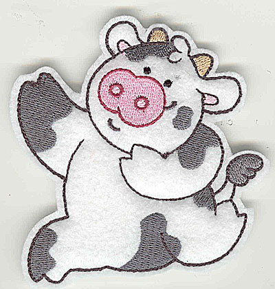 Embroidery Design: Feltie cow small 3.53w X 3.83h