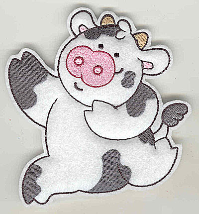 Embroidery Design: Feltie cow large 4.55w X 4.94h