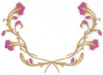 Embroidery Design: Floral half frame large 9.07w X 6.47h
