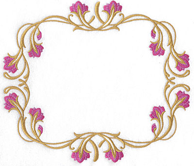 Embroidery Design: Floral frame 8.85w X 7.78h