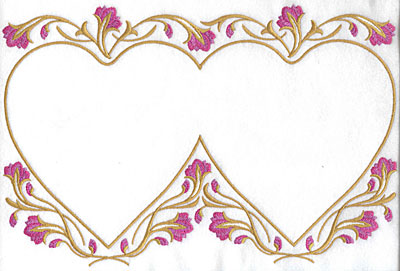 Embroidery Design: Floral hearts 11.66w X 7.76h