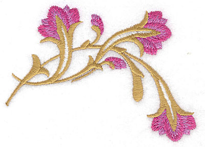 Embroidery Design: Floral drooping small 3.81w X 2.77h