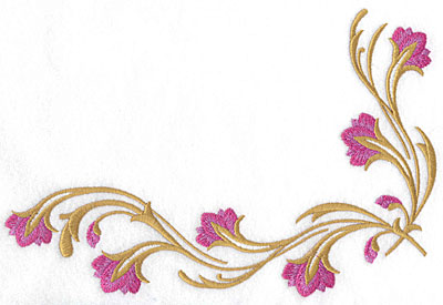 Embroidery Design: Floral corner large 9.05w X 6.09h