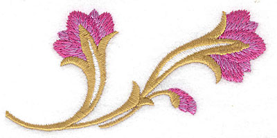 Embroidery Design: Flower duo large 4.12w X 1.95h