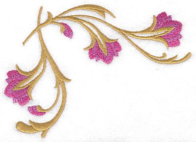 Embroidery Design: Floral upper corner large 5.70w X 4.16h