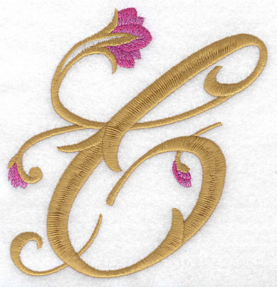 Embroidery Design: C Floral large 4.90w X 5.11h