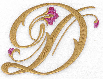 Embroidery Design: D Floral small 4.76w X 3.57h