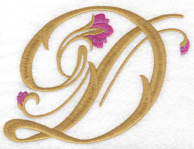 Embroidery Design: D Floral large 6.14w X 4.59h