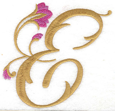 Embroidery Design: E Floral large 4.89w X 4.83h