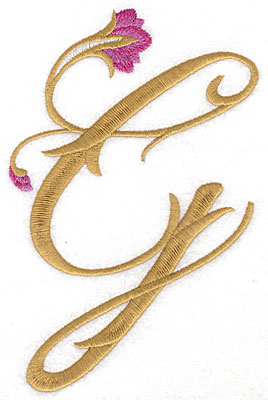 Embroidery Design: G Floral large 4.41w X 6.89h