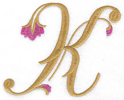 Embroidery Design: K Floral large 5.69w X 4.59h
