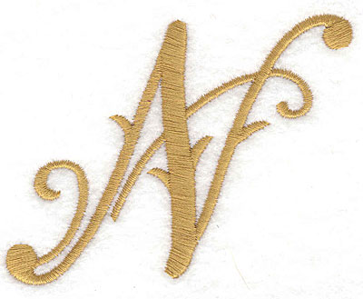 Embroidery Design: N large 3.45w X 2.57h