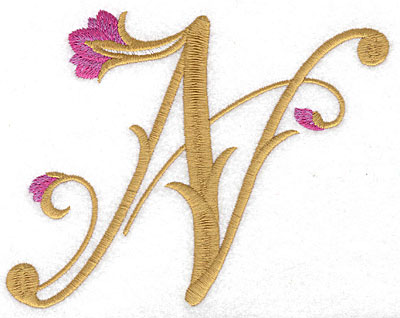 Embroidery Design: N Floral large 6.12w X 4.74h