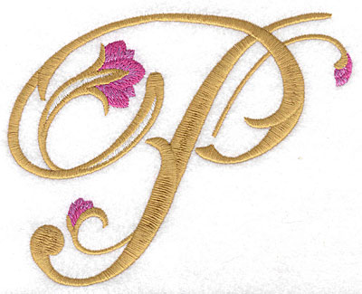 Embroidery Design: P Floral large 5.80w X 4.59h