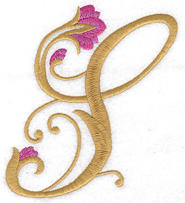 Embroidery Design: S Floral large 4.41w X 4.85h