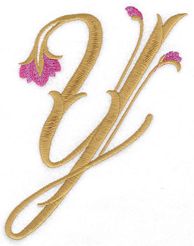 Embroidery Design: Y Floral large4.99w X 6.31h