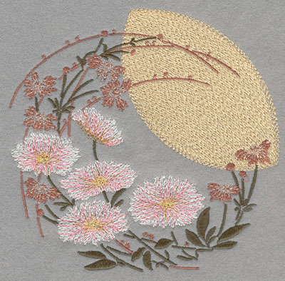 Embroidery Design: Circular Floral Logo with Sun Large6.15w X 6.01h