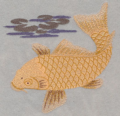 Embroidery Design: Single Koi with Water Lily Large6.09w X 6.00h