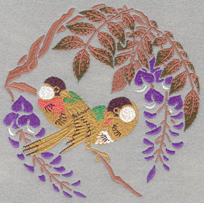 Embroidery Design: Birds with Orchids and Leaves Large6.00w X 5.98h