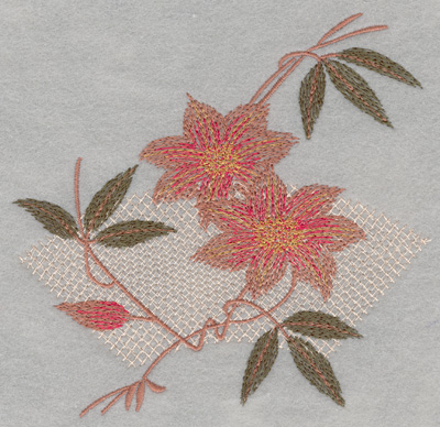Embroidery Design: Flower 2 Blooms with Pattern Large5.98w X 5.68h