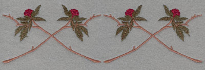 Embroidery Design: Crossed Vine with Floral Bud Large7.50w X 2.24h