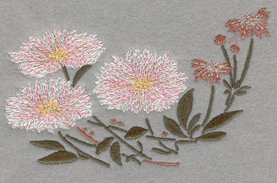 Embroidery Design: Flowers 3 Blooms Large5.24w X 3.12h