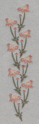 Embroidery Design: Vertical Row of Flowers1.27w X 6.01h