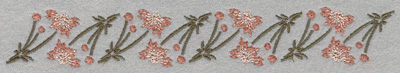 Embroidery Design: Horizontal Row of Flowers7.50w X 1.11h